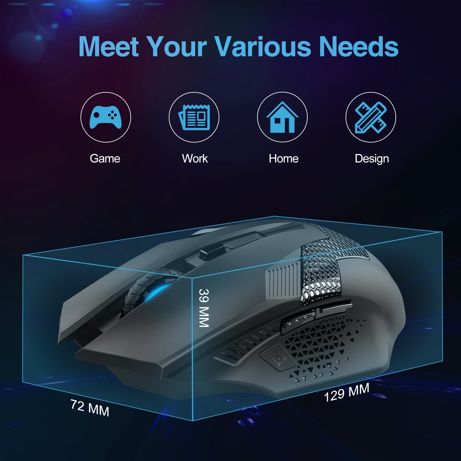 TECKNET 2.4G 4800DPI USB Wireless Optical Gaming Mouse, 8 Buttons