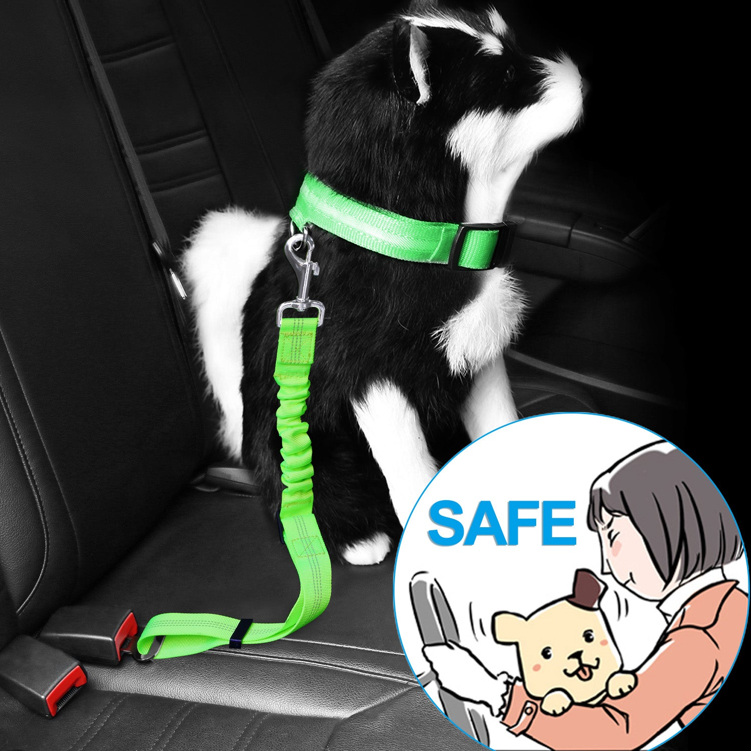 Zellar Dogs Cats Car Safety Seat Belt Harnesses Lead Adjustable