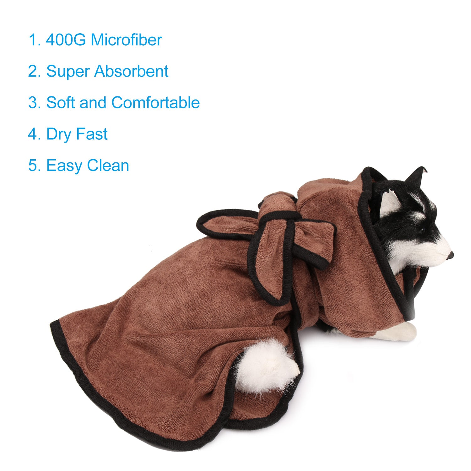 Zellar Dog Bathrobe Fast Drying Towel with Adjustable Strap Hood