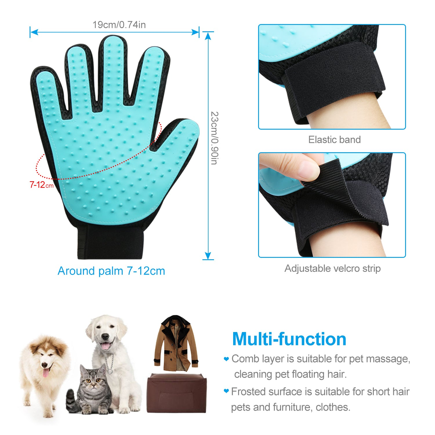 Zellar Pets Dogs Cats Grooming Glove Hair Remover Mitten Massage Brush