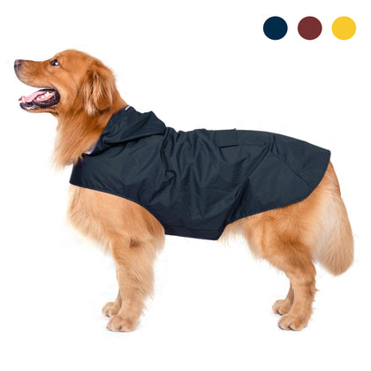 Zellar Dog Raincoat with Hood Rainwear Rain Jacket with Safe Strips - smartekbox