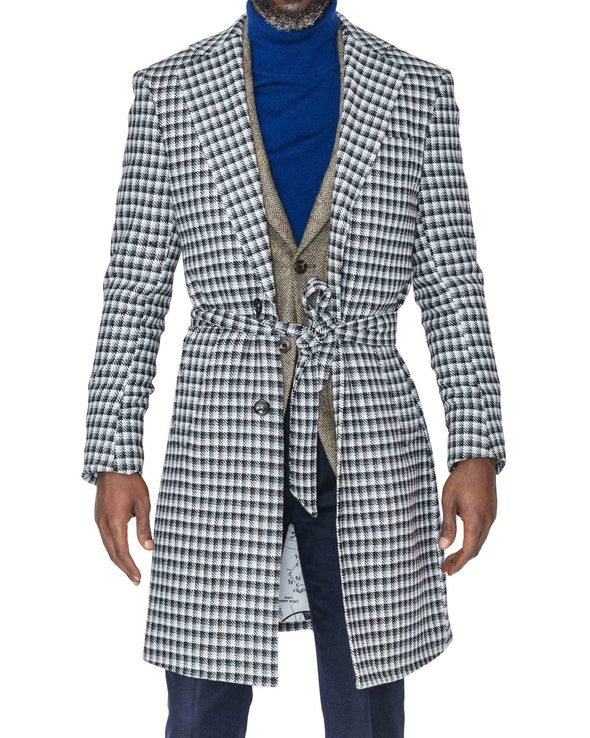 Bobby Houndstooth Coat Open Belt