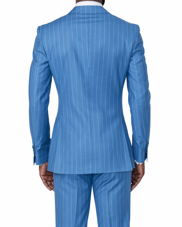 Christopher Blue Pinstripe Suit Back