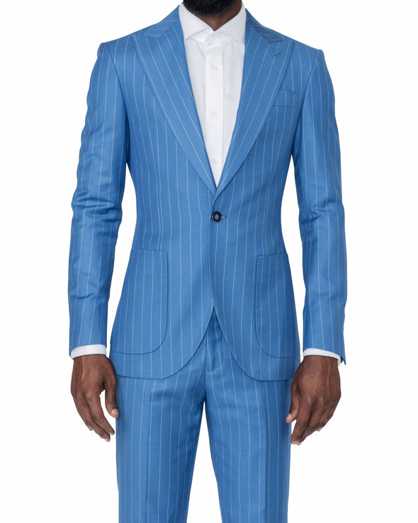 Christopher Blue Pinstripe Suit Front