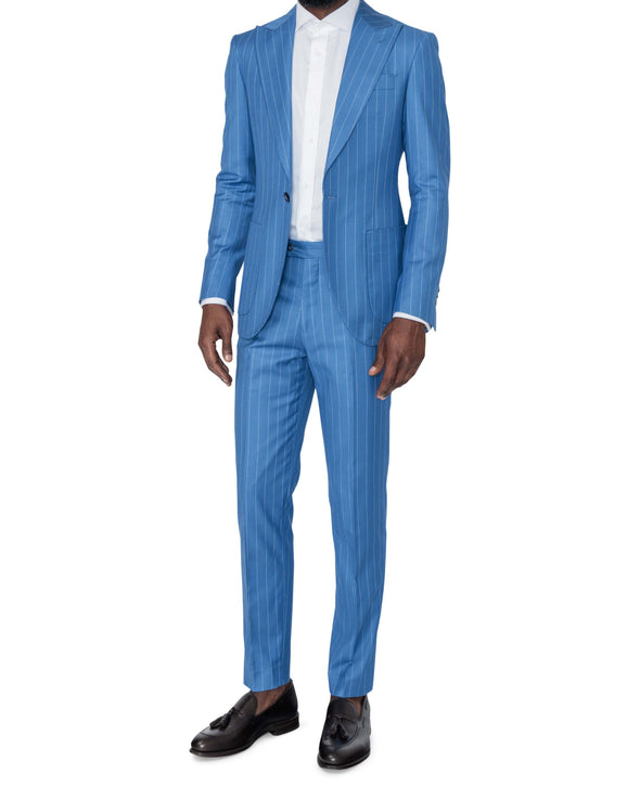 Christopher Blue Pinstripe Suit Full