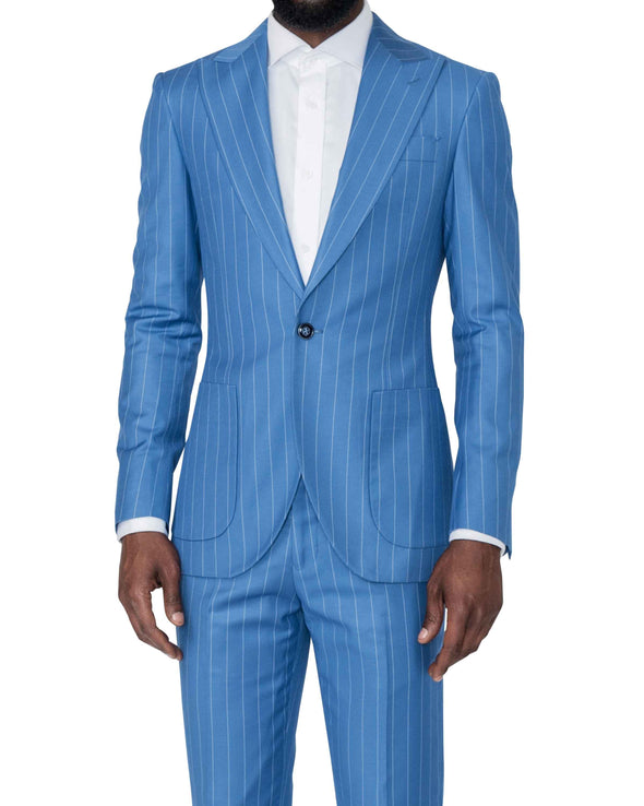 Christopher Blue Pinstripe Suit Side