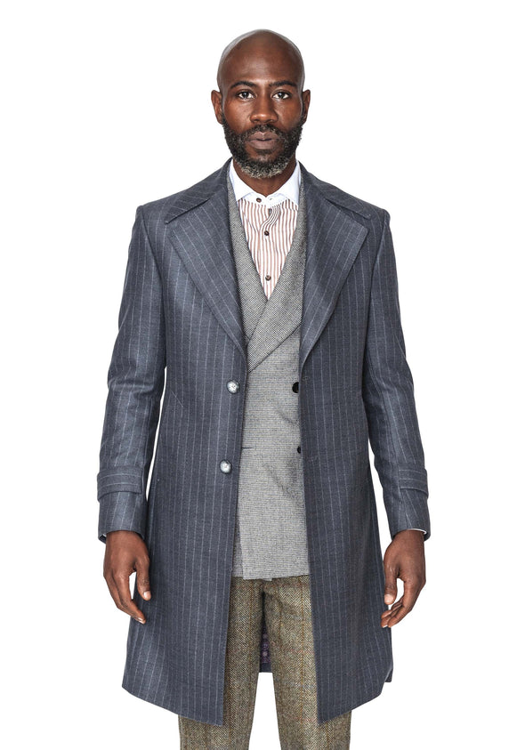 Timothy Grey Pinstripe Coat