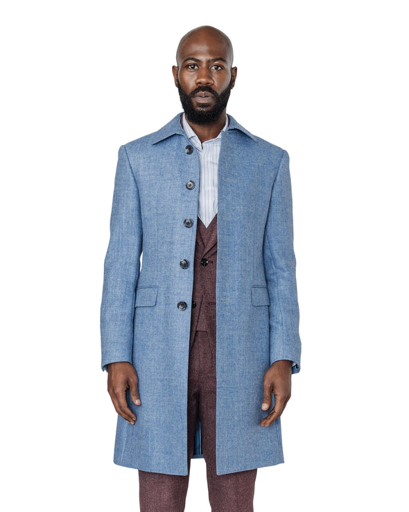Harrison Light Blue Herringbone Coat