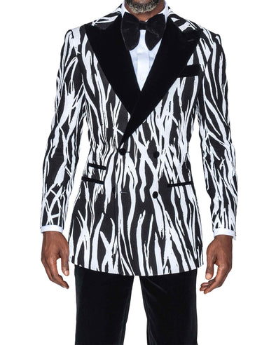 Davidson Black and White Jacquard Tuxedo Front