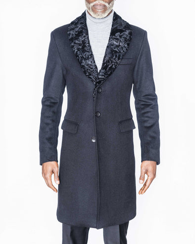Donovan Black Coat with Persian Lamb Collar