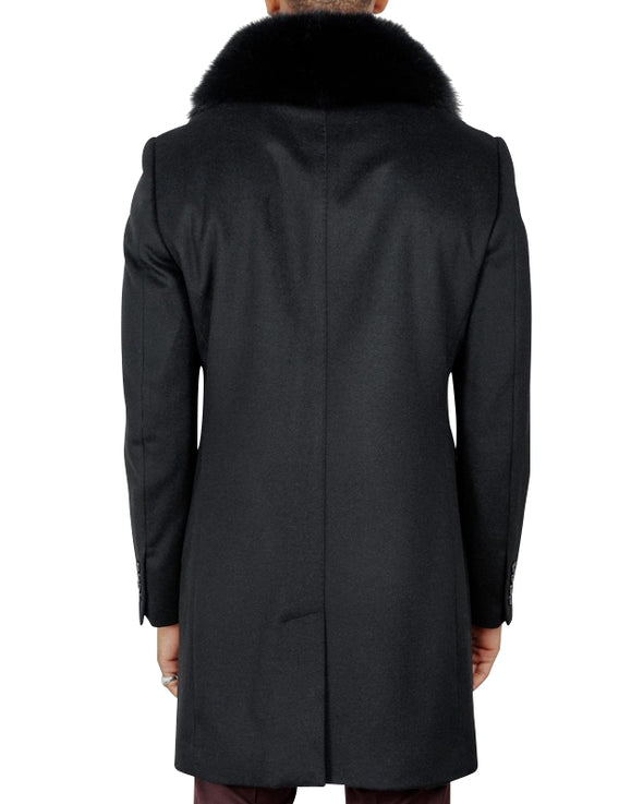DuPonte Black Coat with Black Fox Collar