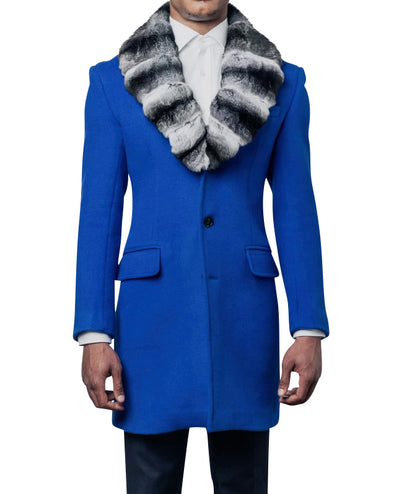 Franklin Royal Blue Coat with Chinchilla Collar