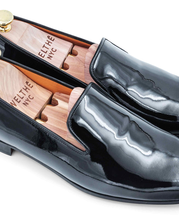 Gary Black Patent Leather Slippers Close Up