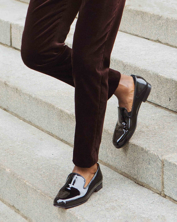 Gary Black Patent Leather Slippers Lifestyle