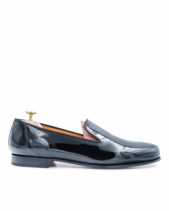 Gary Black Patent Leather Slippers