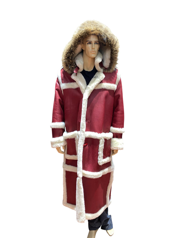 Mens Red Shearling Coat Front Hood Up Full Length