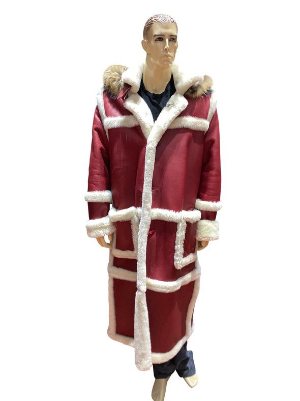 Mens Red Shearling Coat Front Full Length