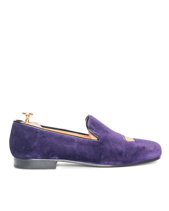 Nicholas Purple Velvet Slipper Loafers