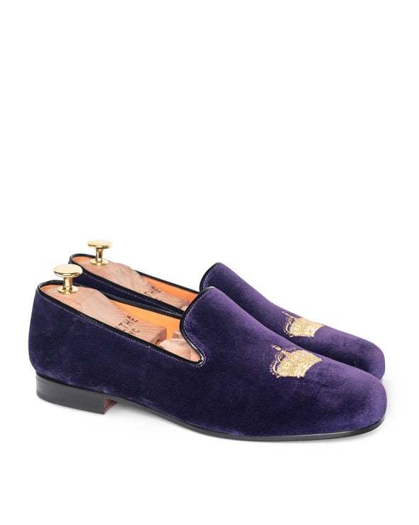 Nicholas Purple Velvet Slipper Loafers 2