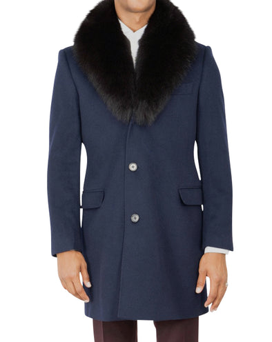 Quinn Navy Coat with Brown Fox Collar