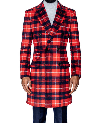 Red and Blue Plaid Coat Front