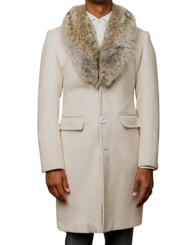 Richard Cream Coat with Coyote Collar
