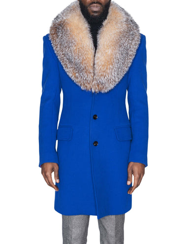 Royal Blue Coat with Crystal Fox Collar Front