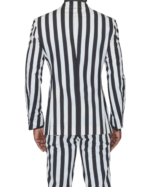 Sean Black and White Striped Suit Back