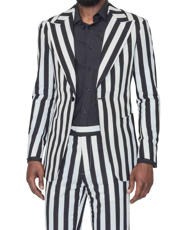 Sean Black and White Striped Suit Front Open