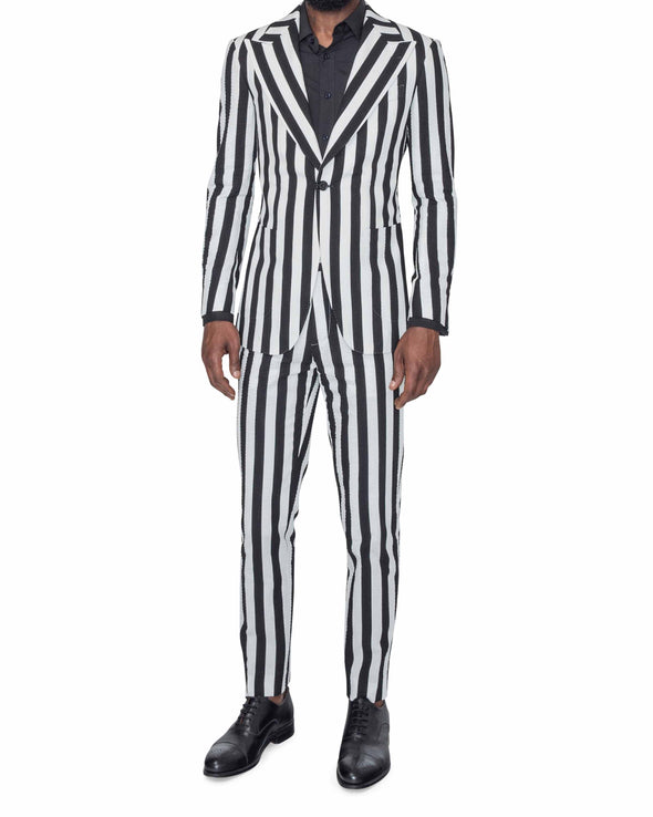 Sean Black and White Striped Suit Front Side