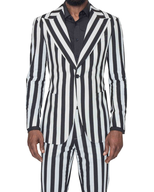 Sean Black and White Striped Suit Front