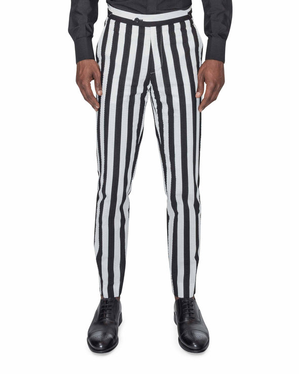 Sean Black and White Striped Suit Trousers