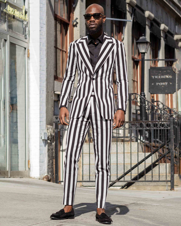 Sean Black and White Striped Suit Lifestyle