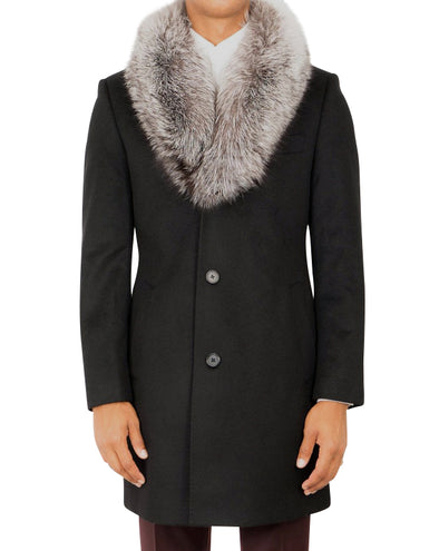 Winston Black Coat with Silver Fox Collar