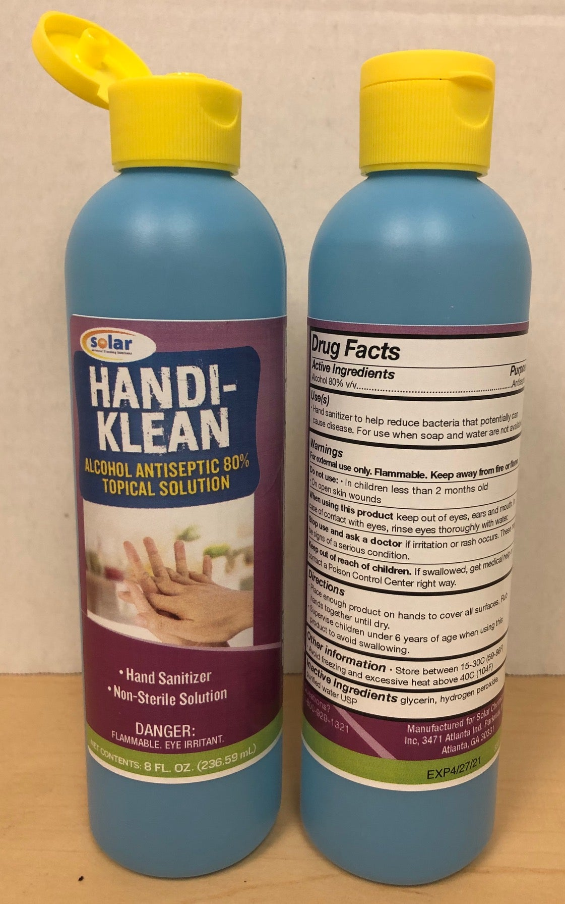 HANDI-KLEAN 8.0 OZ HAND SANITIZER 12/CS