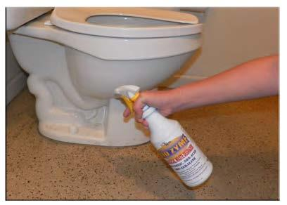 Applying Bio Bug Enzymatic Treatment to Toilet Bowl Exterior