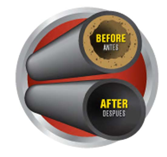 Before and After drain opener illustration