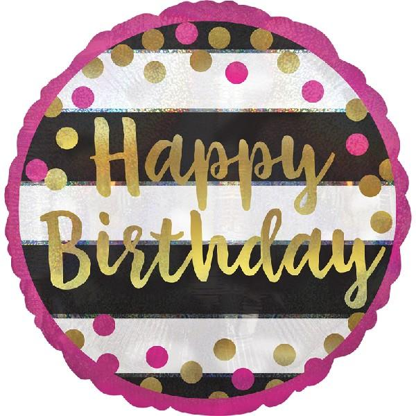 "Pink & Gold Birthday Holographic 18"" Foil Balloon"