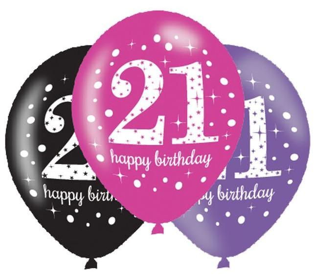 Pack Of 6 Pink Sparkle 21st Birthday Latex Balloons