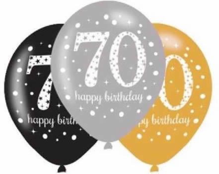 Pack Of 6 Gold Sparkle 70th Birthday Latex Balloons