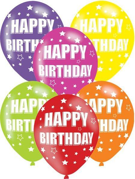 Pack Of 6 Assorted Happy Birthday Latex Balloons