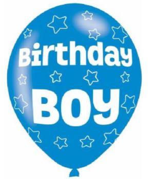 Pack Of 6 Blue Birthday Boy Latex Balloons