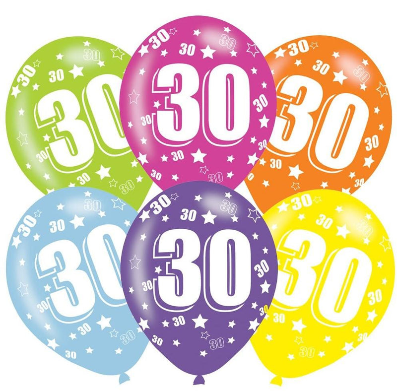 Pack of 6 assorted 30th birthday latex balloons
