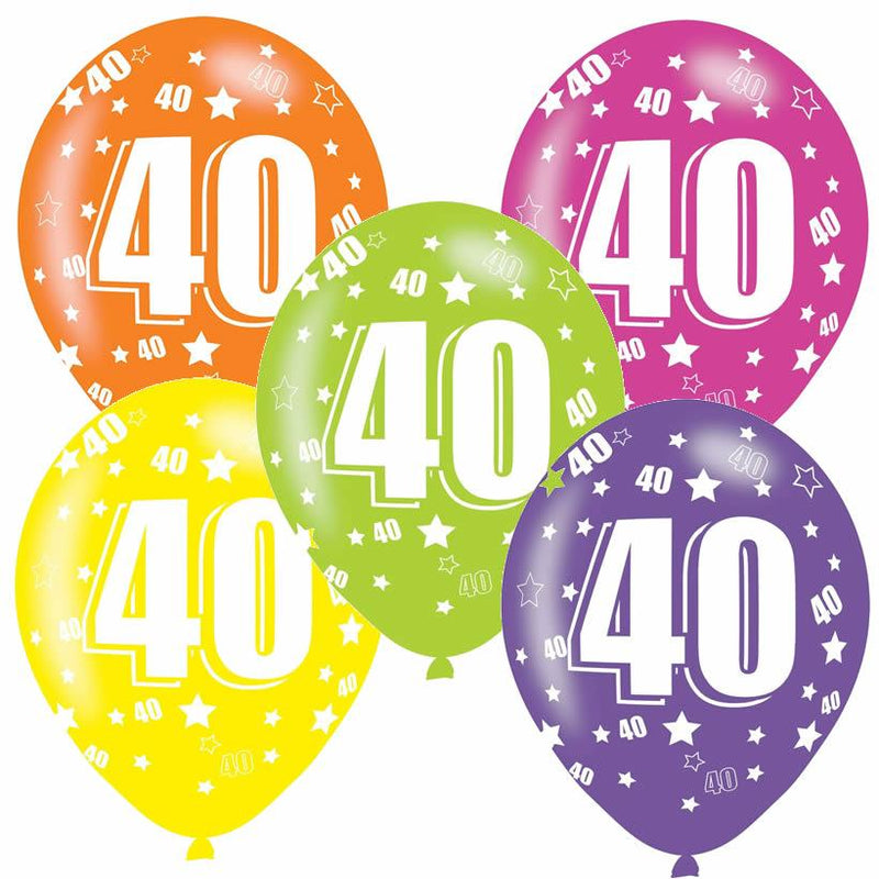 Pack of 6 assorted 40th birthday latex balloons