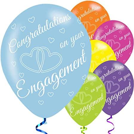 Pack Of 6 Assorted Happy Engagement Latex Balloons