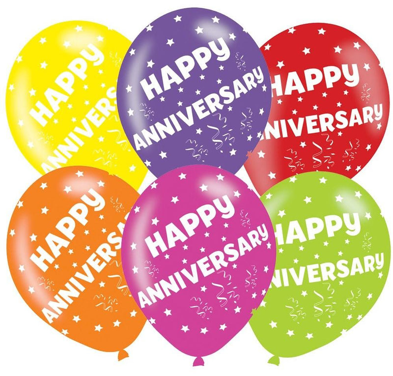 Pack Of 6 Assorted Happy Anniversary Latex Balloons