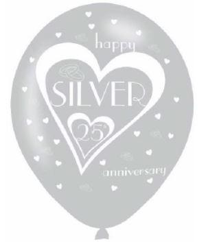 Pack Of 6 Silver 25th Wedding Anniversary Latex Balloons