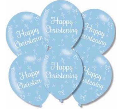 Pack Of 6 Blue Happy Christening Latex Balloons