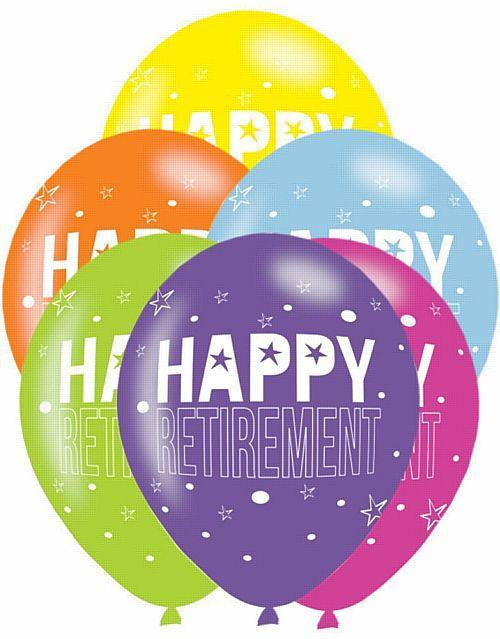 Pack Of 6 Assorted Happy Retirement Latex Balloons