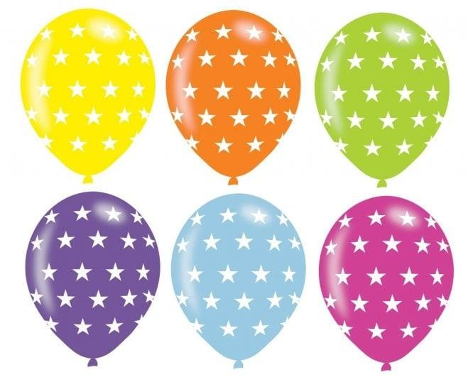 Pack Of 6 Assorted Colour Stars Latex Balloons